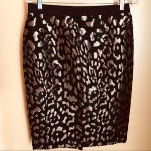 New Ann Taylor Animal metallic pencil skirt